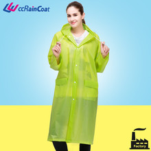 eco-friendly adult eva rain poncho with sleeves, logo customize