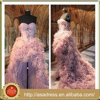 ASAR-1001 Top Design Luxury Pink Ostrich Feather Short front Long Back Real Sample Evening Dress