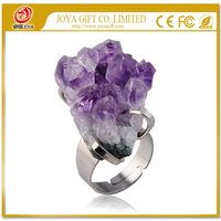 Natural Real Drusy Amethyst Gemstone Ring with adjustable metal women finger jewelry