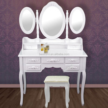 2015 Hot Selling Zhejiang Makeup Dresser Three Mirrors Seven Drawers Dresser Table Factory &Supplier&Seller&Distributor