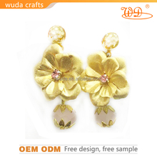 wholesale fashion double pearl earrings with 24K gold foil and crystal diamond