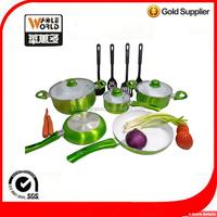 9 pcs cookware set metallic exteior painting with nylon utensils