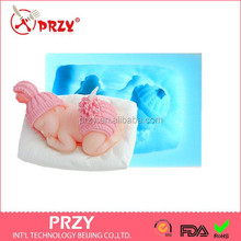 PRZY new 3d baby cake decoration silicone moulds and candle mold /fondant baby mold silicone molds for cake decorating