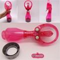 funciona con pilas de plástico abs material de nebulización de agua eléctrico mini ventilador de la mano
