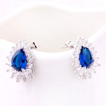 Fashionable jewelry party earrings,blue tear drop earring fashion earring
