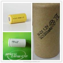 High Temperature nicd sub c 1.2v battery / sc 1.2v 2000mah nicd battery / nicd sc rechargeable battery