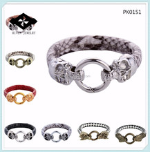 PK0151 Alloy Accessories Single Ring Connect Rock Gold Silver Gun Black Gold Clasp Snake Leather Bracelet
