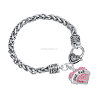 Fancy Wheat Chains Pink/Clear BIG SIS Crystal Heart Charm Bracelet For Girls