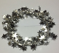 HOT SALE! Foil PVC Christmas Gift Wrapping Wired Star Tinsel garland