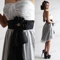de marfil corto vestido de cóctel negro correa de la cintura pequeña sin hombro vestido