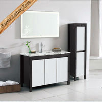 White and black marble top solid wood bathroom vanity bath cabinet