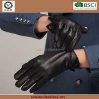 2015 AW Best Sell Black Genuine Leather Winter Warm soft lined Classical Men's Leather Gloves