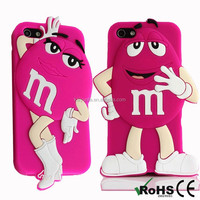 M&M cute soft silicone hard plastic cell phone case for Iphone 6 and 6 plus PC phone cover