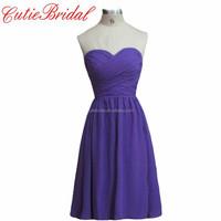 Purple Short Bridesmaid Gowns Sweetheart Hi-Lo Bridesmaid Dresses