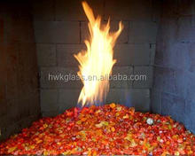 Crushed fire glass for gas fireplace