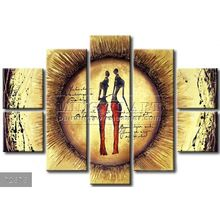 Handmade New Modern Group African landscape oil painting, Decorative painting Africans in sunny poetry