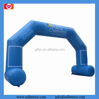 Moveable outdoor arch light blue advertising inflatable arch with banner