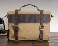Handmade leather messenger bags waxed cotton canvas messenger bag canvas casual messenger bags for men
