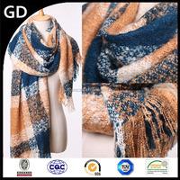 GDKK0044 Good quality sgraffito tartan wool blanket scarves