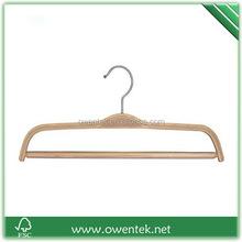 wholesale non slip rubber coated laminated pants hanger, wooden bottom hanger