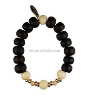 Hindu Wood Beaded Bracelet with Customized Logo