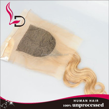 aliexpress Top quality best selling natural brazilian hair line body wave ombre light brown lace closure