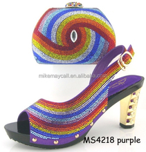 MS4218 purple women sandals shoes and bags set made for USA hot selling brand,super comfortable to wear, very affordable price