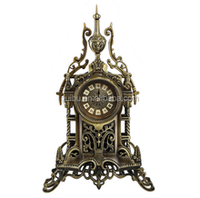old ancient table clock; brass table clock; antique table clock