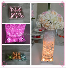 Latest 4 inch Square 16 colors changing rechargeable remote control led centerpiece wedding decoration