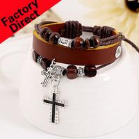 free shipping Bangsheng adjustment alloy cross leather bracelet ornaments multilayer two-color punk Fashion bracelet for unsiex