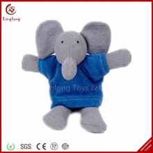 4 inches plush gray elephant finger puppet for baby stuffed cartoon animal finger puppet cloth doll educational hand toy