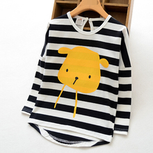 ta2114 wholesale girls boutique clothing long sleeve striped fashion girl tshirt