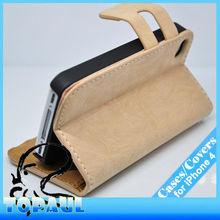For iphone 4 new arrival light brown smart fold credit hold leather wallet purse phone case