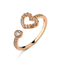 promotional heart ring / heart diamond adjustable ring with 18 k gold plated of fashion jewelry