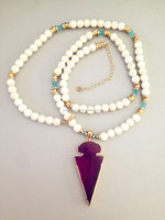 Fashion pendant Jewelry Bohemian Jewelry Howlite White Turquoise Beaded purple Agate Arrowhead Pendant Necklace