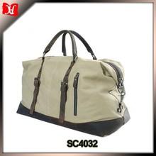 2015 OEM Mens Canvas with leather travelers bag vintage luggage bag