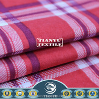 100% Cotton Plaid Red and White Flannel Fabric