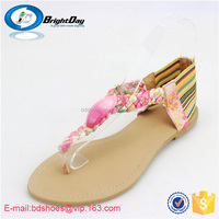 2015 new flip flops fashion solid women shoes with rhinestone/beach sandals wedges