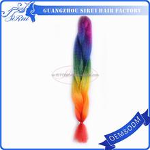 High temperature xpression synthetic hair 100 kanekalon jumbo braid, ombre colorful wavy, 100% kanekalon fiber material