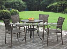 Rattan Dining Table And Chair/ Aluminum Frame Patio Wicker Furniture