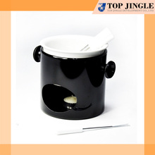 Glossy Black Chocolate Fondue with White Ceramic Bowl