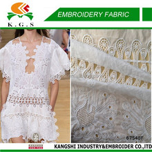 2016 border lace embroidery, cotton eyelet fabric for dress