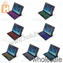 7 Colors For iPad 2/4 The New iPad Backlit Bluetooth Keyboard Case, PU + Aluminum Flip Wireless Bluetooth Keyboard Case for iPad