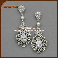 New Wedding Statement Earrings ,Silver Gold Plated Fashion Crystal Women Costume Resin