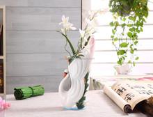 STXJ006 Made in China Beautiful Swan Ceramic Tall Vase