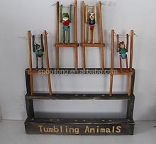 Wooden carved kids toys tumbling animals