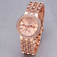 Luxury Geneva Rhinestone lady stainless steel watch 3 colors
