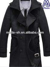 newest style men's woollen coat wool polyester fabric