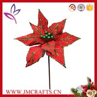 Long stem artificial poinsettia for Christmas decoration