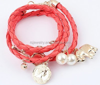 coin pearl leather wrap bracelet with elephant cheap wholesale